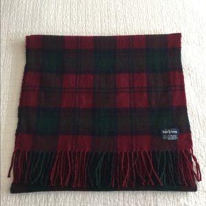 Ralph Lauren lambswool plaid oblong scarf w/fringe